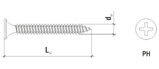 Саморезы для гипсокартона по металлу KGM 3.5x25мм 1000шт